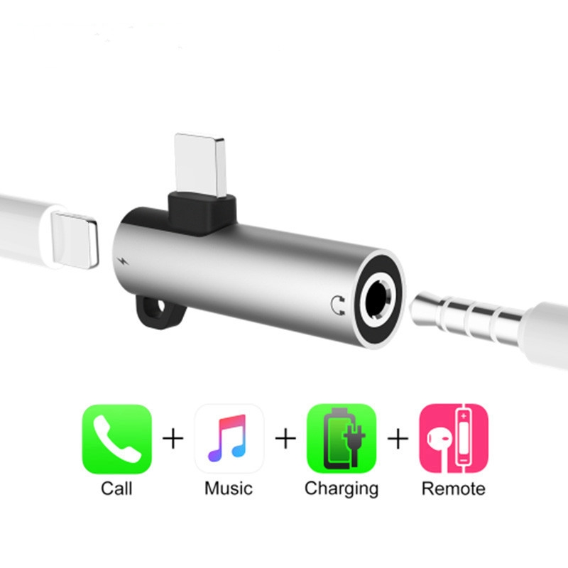 Phone Adapter for Lightning to 3 5mm Jack Headphone Adapter Charge Aux Audio