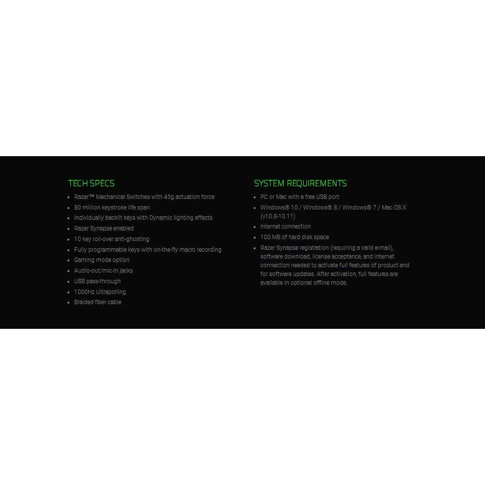Razer BlackWidow Ultimate Stealth 2016 Wired Gaming Keyboard