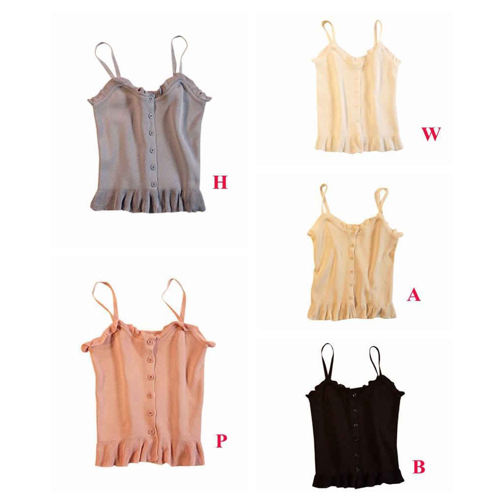 516831a6811 Slim Fit Buckle Knitted Camisole Vest Ruffled Sleeveless Short Crop Tops
