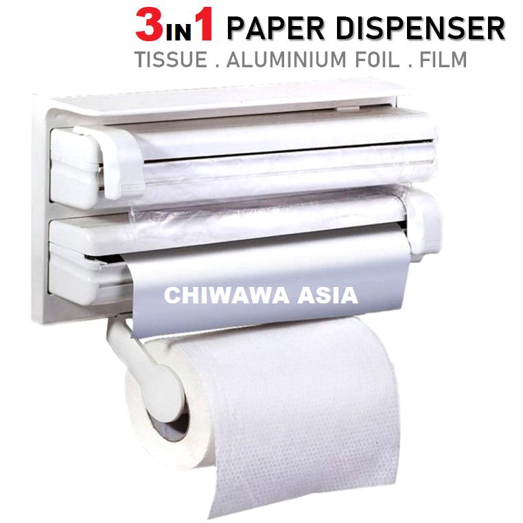 3 IN 1 Wall Mounted Triple Paper Dispenser Aluminium Foil Holder Cling Film Cutter Tissue Shelf Kitchen Rack Organizer