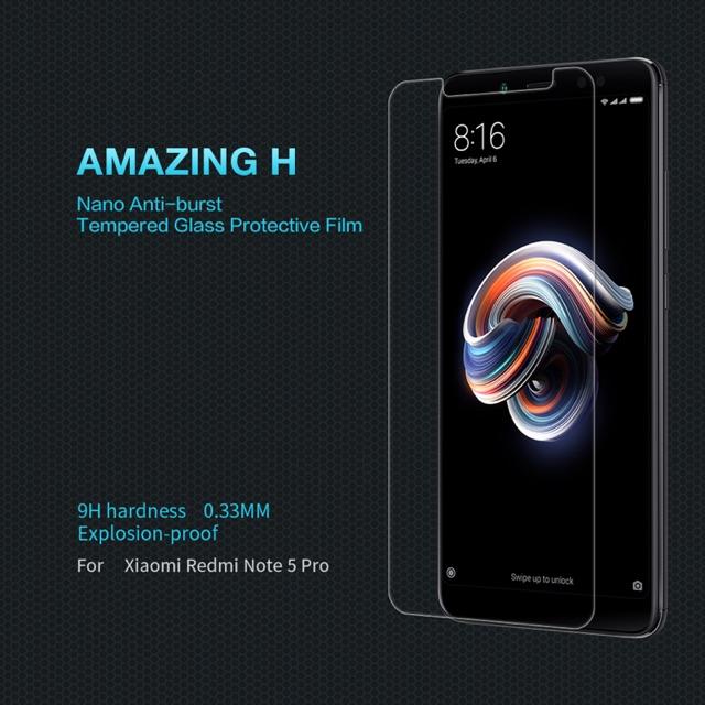 Nillkin ฟิล์มกระจกนิรภัย Xiaomi Redmi Note 5 / Note 5 Pro รุ่น Among H 0.33mm. 9H hardness Explosion-