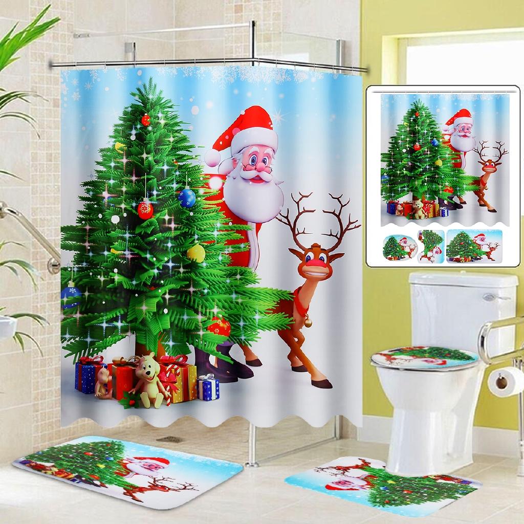 Christmas Santa Claus Bathroom Shower Curtain Non-slip Mat Rug Toilet Cover