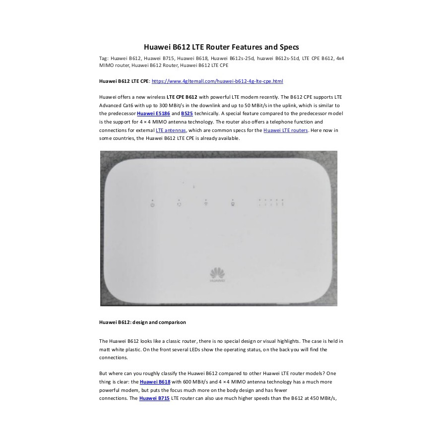 Huawei B612 B612s-25d Router 4G LTE Cat 6 300Mbs CPE Router 4G Wireless  Router