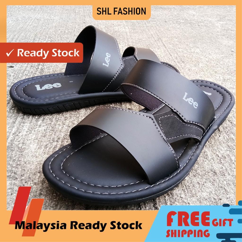【Size 6&7&8】SHL Men PU Leather Sandal ONE STRAP Slip On Selipar Kasut Lelaki【男士拖鞋】-90011