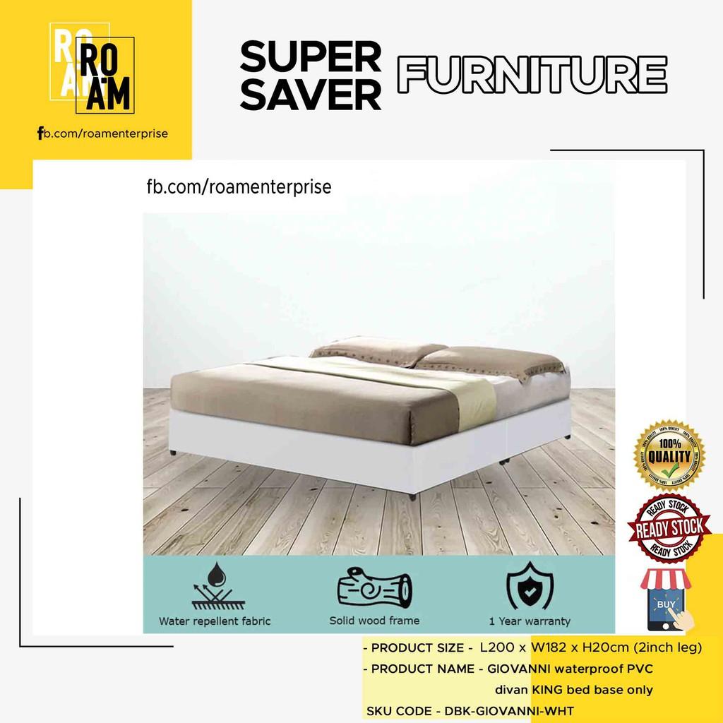 TAD GIOVANNI WATERPROOF PVC DIVAN KING BED BASE – WHITE