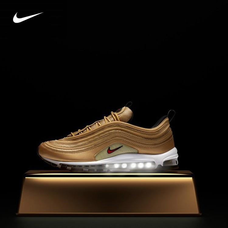 newest 20235 48a16 Nike Air Max 97 CR7 Gold White Men women Cushion Leisure Sport Running Shoes