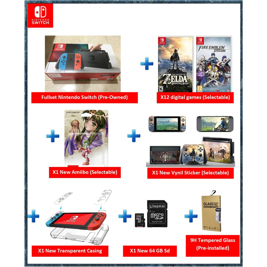 [Promo Combo Set] Pre-Owned Nintendo Switch Neon Free 12 Digital Games