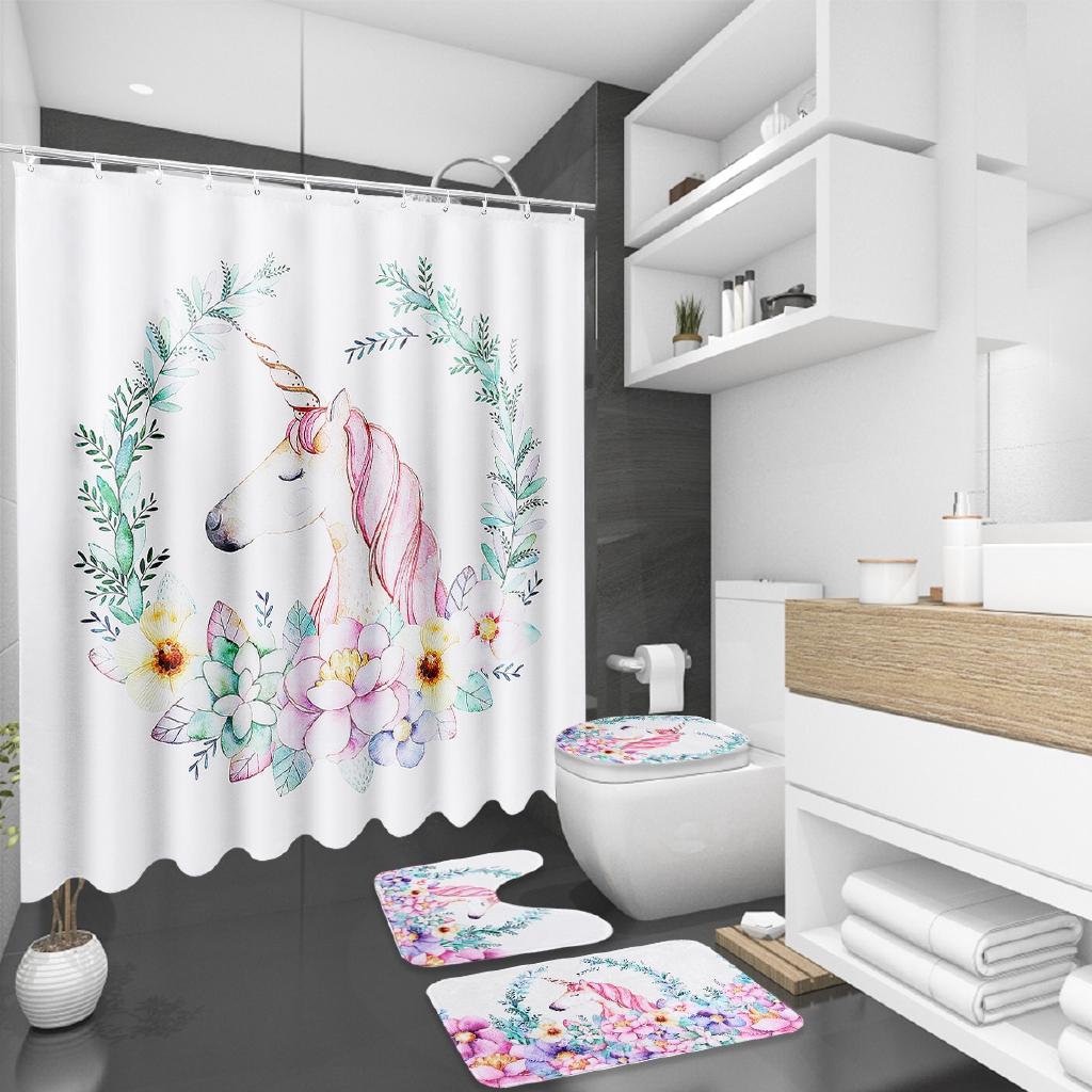 Flower Horse Non Slip Toilet Lid Cover Rugs Mat Set Shower Curtain