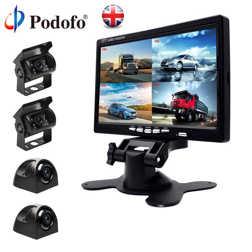 """9/"""" QUAD SPLIT SCREEN MONITOR 4x BACKUP REAR VIEW CCD CAMERA SYSTEM FOR TRUCK RV"""