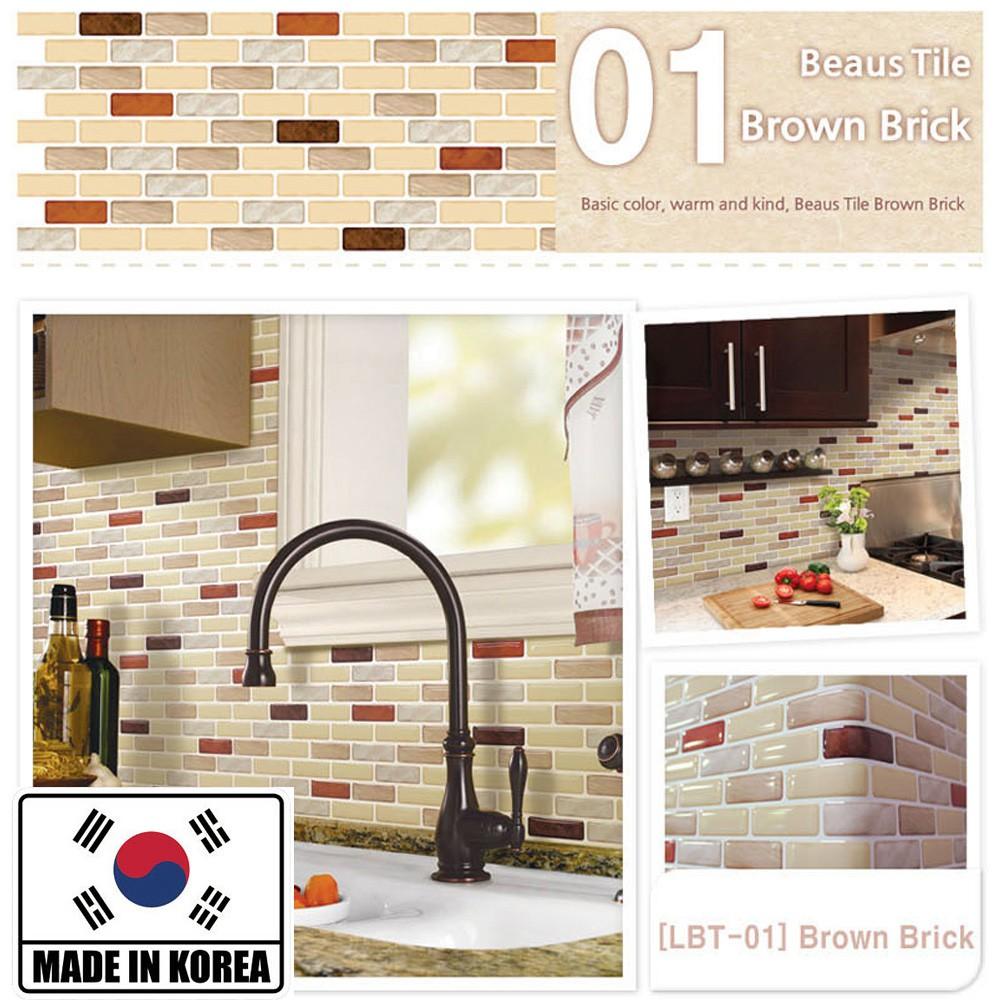 37.6cm x 13.4cm Mosaic Peel and Stick Self-Adhesive 3D Backsplash DIY Kitchen Bathroom Wall Sticker Hiasan Dinding Dapur