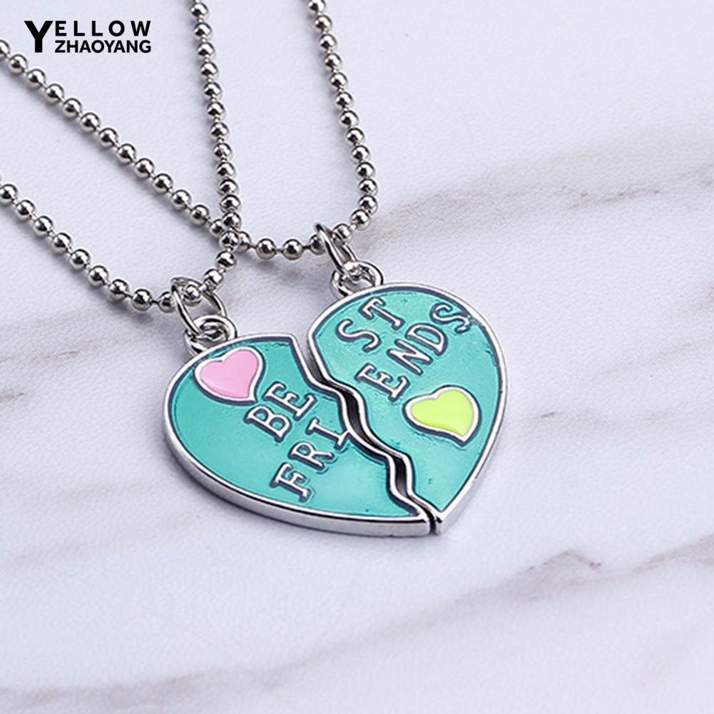 Beautiful Splice Heart Pendant Best Friend Letter Necklace Women/'s Jewelry JS