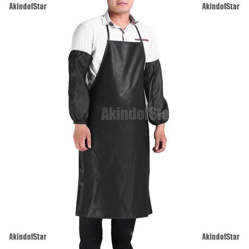 1SET Kitchen Apron And Sleeve Restaurant Kitchen Bib Aprons with Pocket LJ