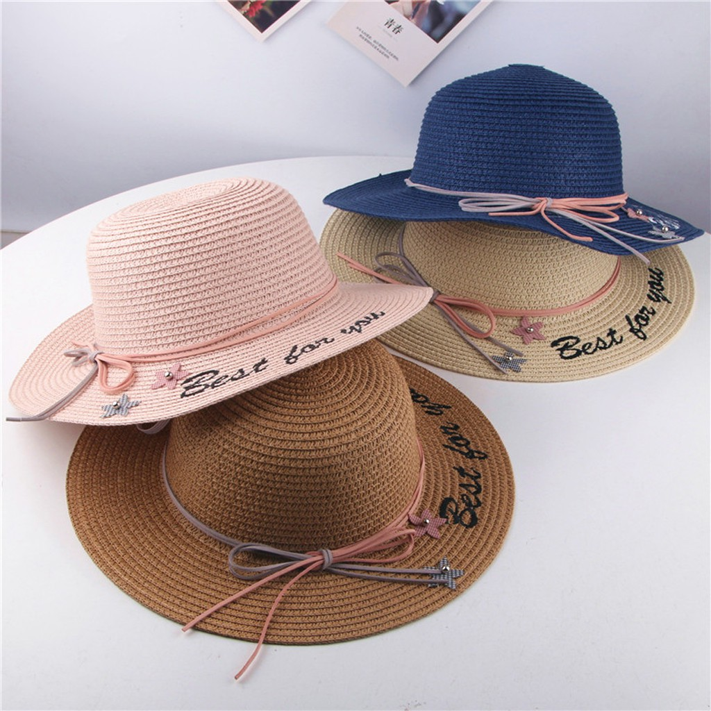 Summer Infant Baby Girls Children Beach Breathable Hat Straw Hat Kids Bucket Cap