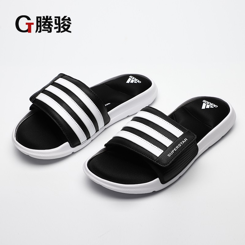 1e07ce47d9d38 Tengjun Adidas Superstar 5G black and white three bar Velcro men s sports  slippers AC8325