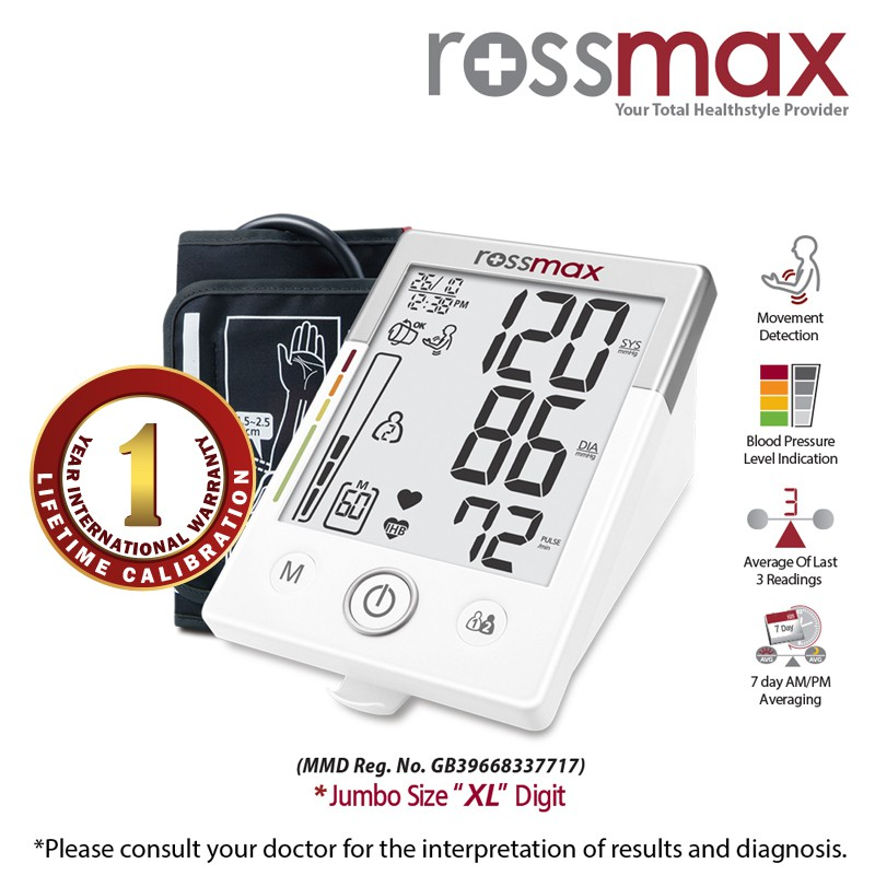 "ROSSMAX ""XL"" Deluxe Automatic Blood Pressure Monitor Model MW701f"