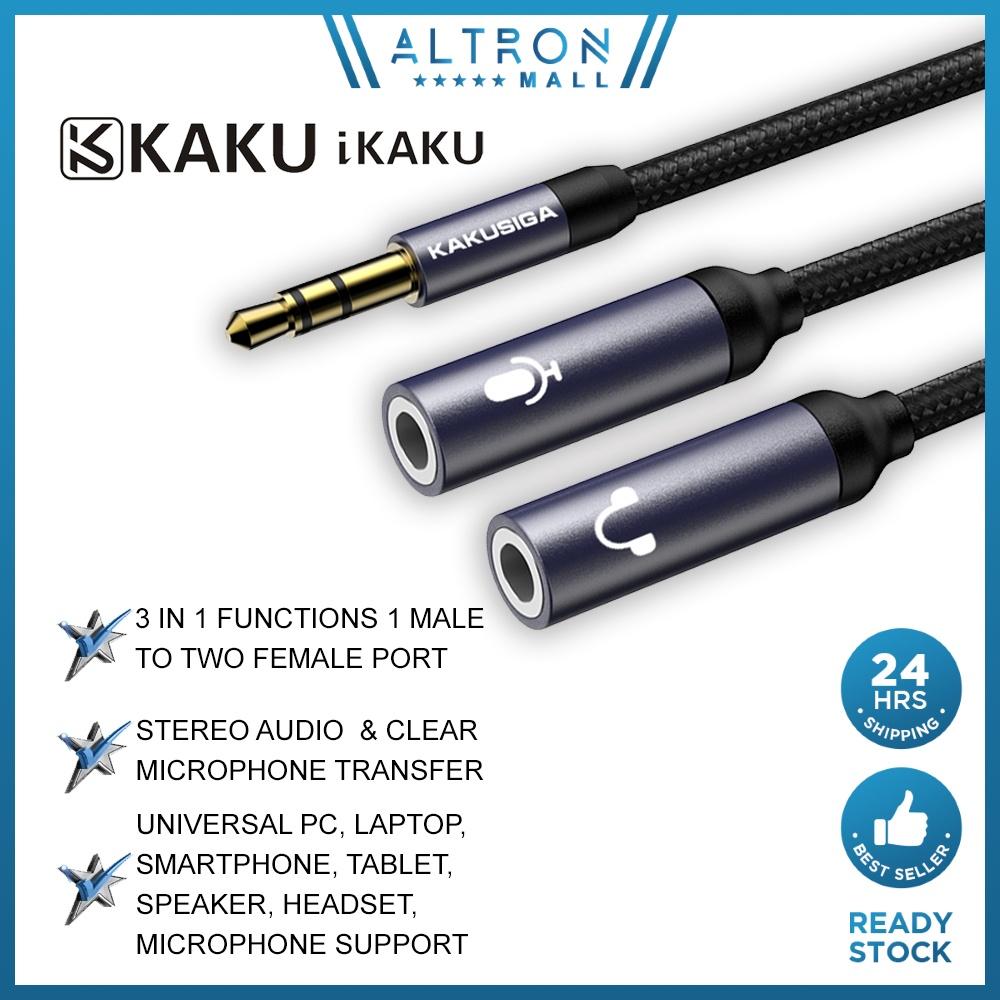 IKAKU KAKU HUIYIN 3.5mm Male to Two Port 3.5 mm Female Aux Audio Jack Microphone Y Splitter Cable Adapter Smartphone PC