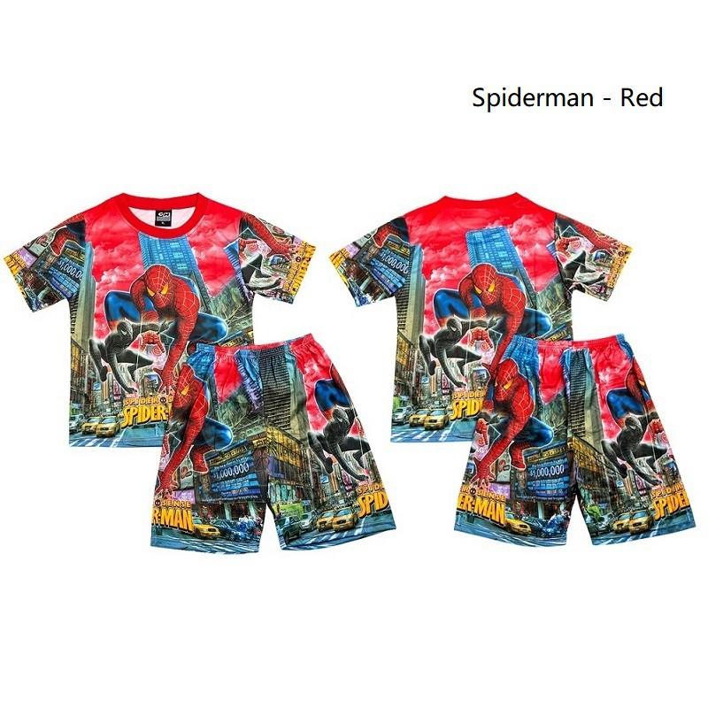 77bf297fe61d6 Spiderman Summer Short Sleeve Boy and Girl Shirt Cartoon Print Pajama Set