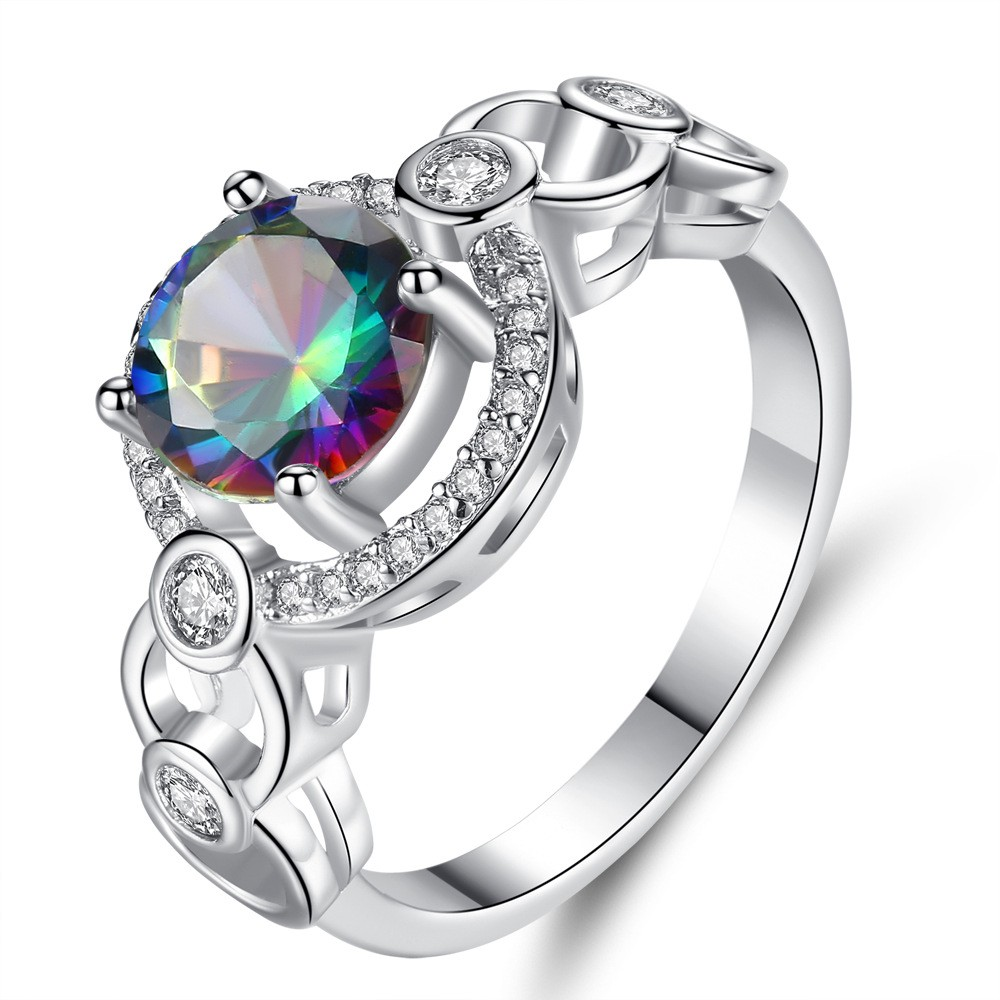 Rainbow /& White Topaz Gemstone Silver Ring Size 6 7 8 9 10 Marquise Cut Stone