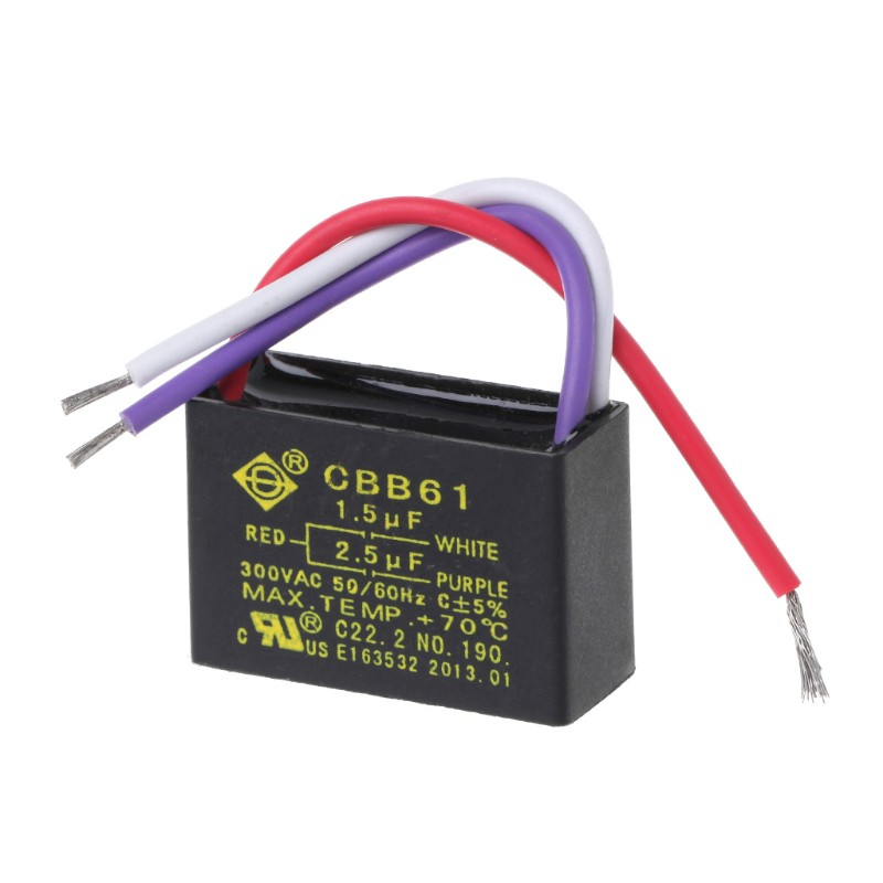CBB61 5.0uF 2 WIRE 250VAC 50//60Hz Ceiling Fan Capacitor 2 Wires