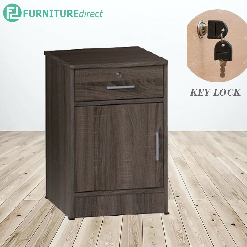 DUBLIN 1 drawer 1 door bedside table with key lock/ storage cabinet/