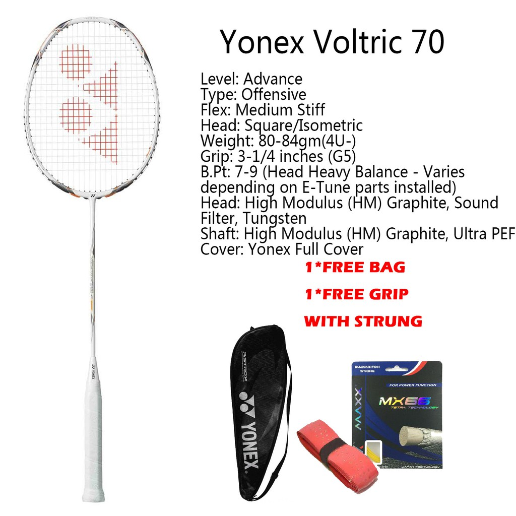 ไม้แบดมินตัน  YONEX VOLTRIC VT70 Full Carbon Single Badminton Racket Made in