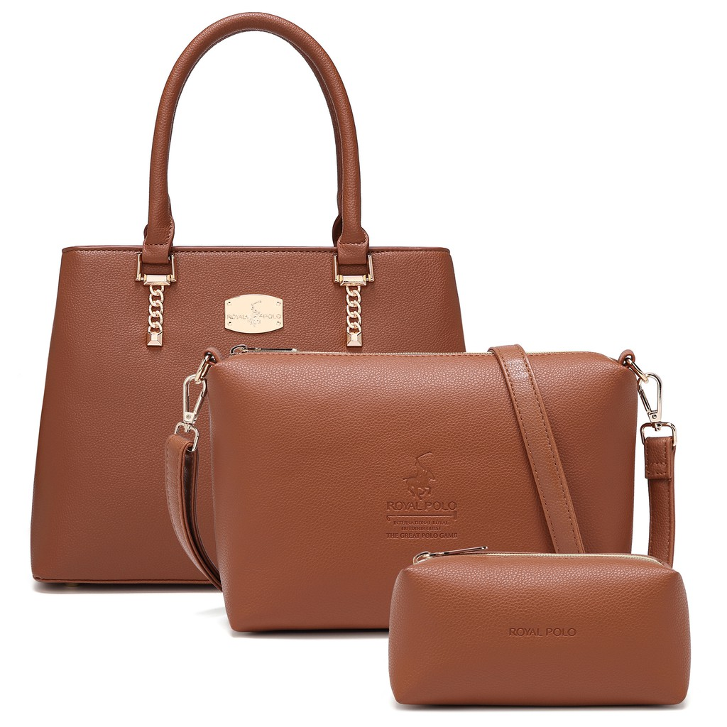 ROYAL POLO Skylar Handbag 3in1 Set (Free Sling Bag And Make Up Pouch)