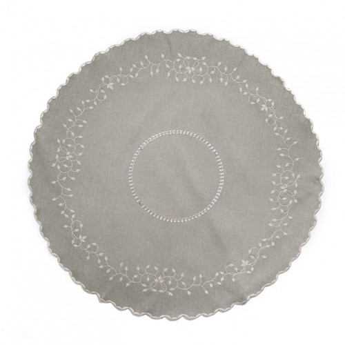 Vintage Embroidered Ivy Leaf Round Tablecloth/Centerpiece/Overlays. RD90cm Grey