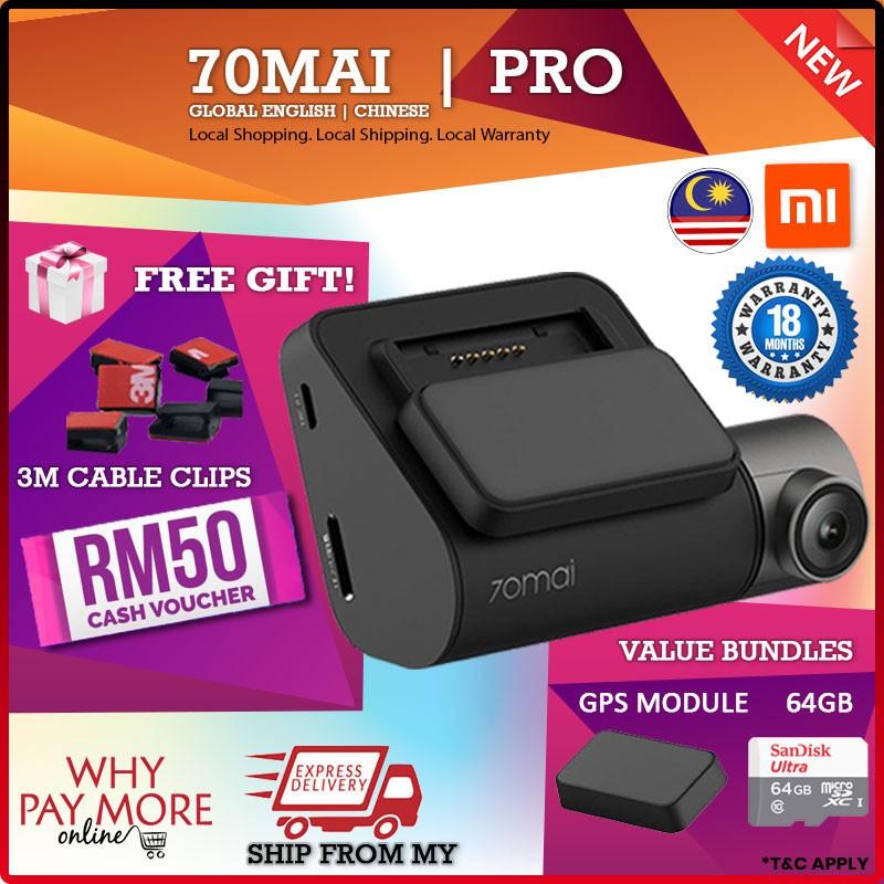 [18 MTH Global Ver] 70mai Pro XIAOMI MI Cam Car DVR Camera Dashcam 70 mai  English Chinese International Original