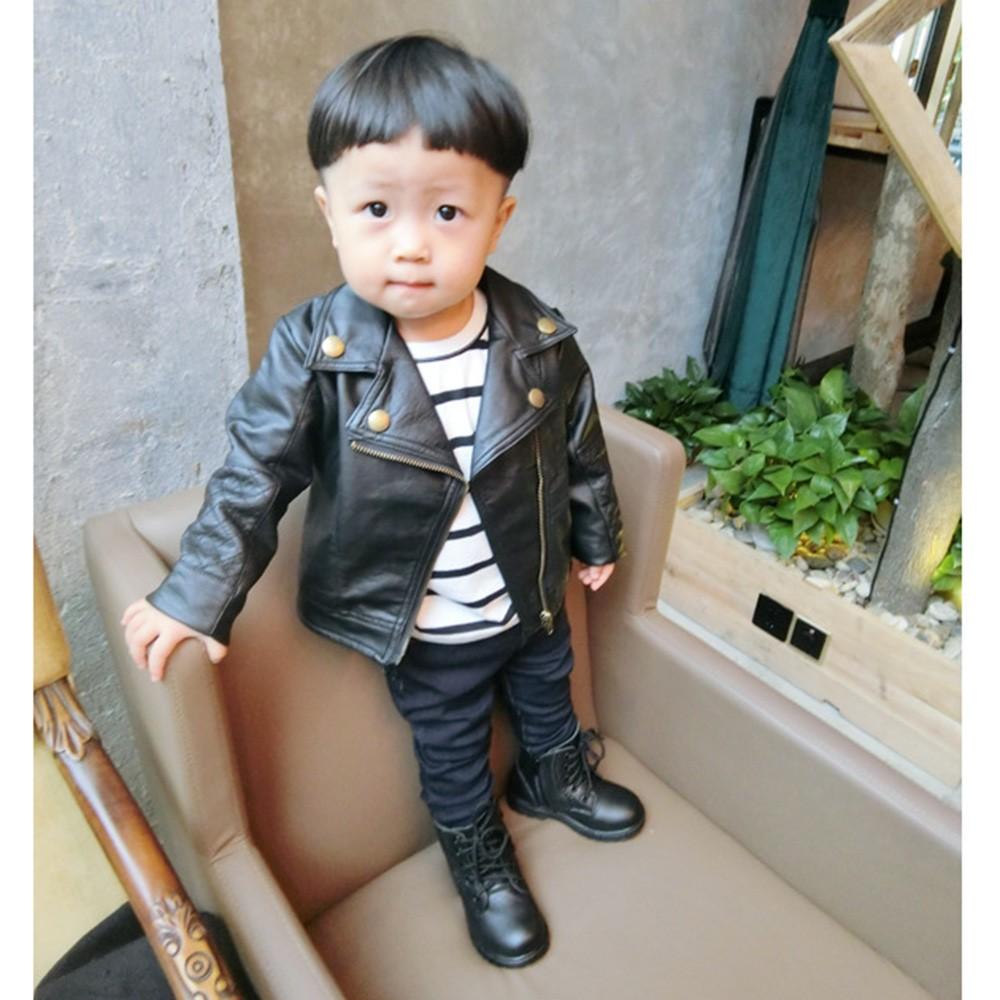 d265600cf5b Autumn Winter Girl Boy Kids Baby Outwear Leather Coat Short Jacket Clothes
