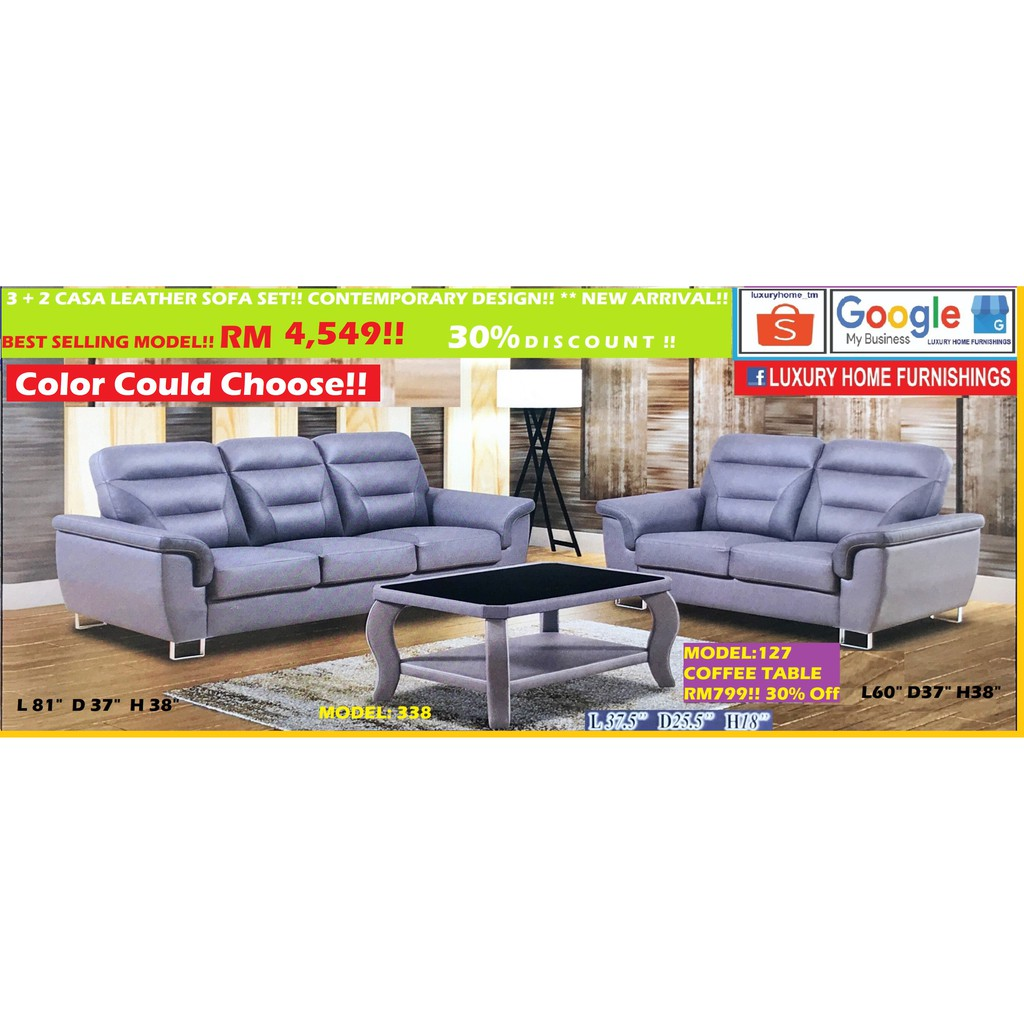 SOFA SET COLLECTIONS, CASA LEATHER SERIES, 2 +3 SEATER, RM 4,549!! ENJOY 30% OFF