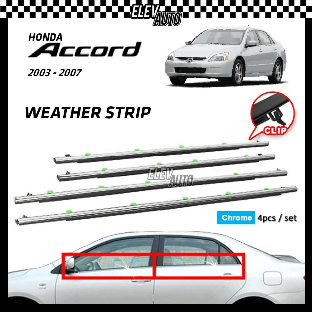 Honda Accord 2003-2007 Weather Strip Weatherstrip Window Moulding Belt 4pcs (Chrome)