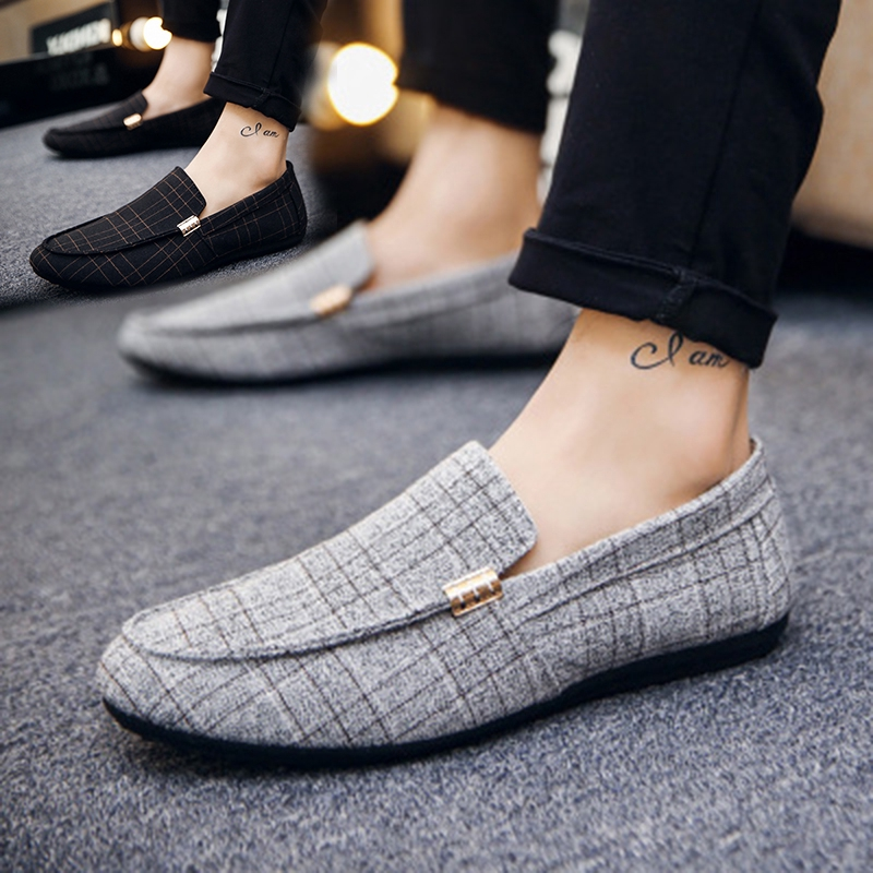 Hot Men Flat Gray Driving Moccasins Casual Breathable Loafers Boat Penny Shoes