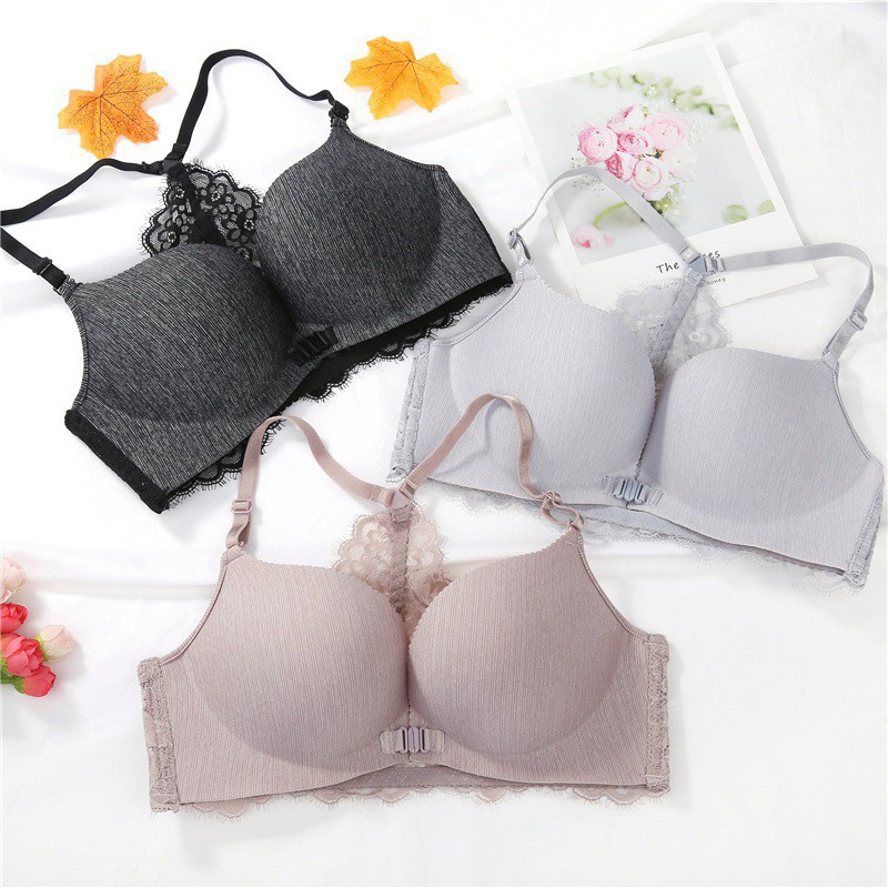 Women Front Buckle Vest Bra Adjustable Lace Embroidery Breathable Soft Underwear