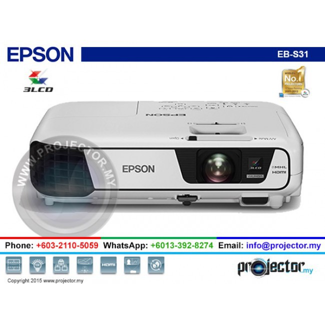 EPSON EB-S31 3200 ANSI LUMENS 3LCD WIFI / WIRELESS (OPTIONAL) PROJECTOR,  HDMI