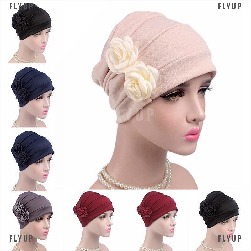 FLYUP Women Hijab Turban Hat Lady Cancer Chemo Hair Loss Cap Head Scarf Wrap Cover
