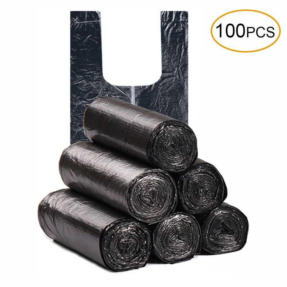 Disposable Thickened Garbage Bag with Handle Tie 100 Pcs Portable Household Heavy Duty Trash Bags (Black)