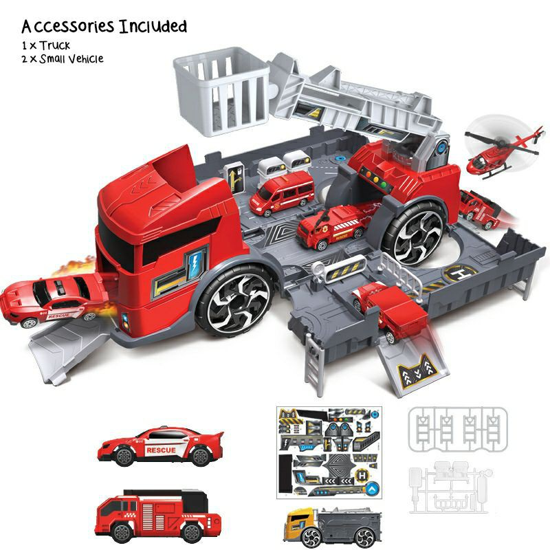 Transformation Truck Construction Fire Truck Deformation Play Set / Set Truck Kanak-Kanak Transform