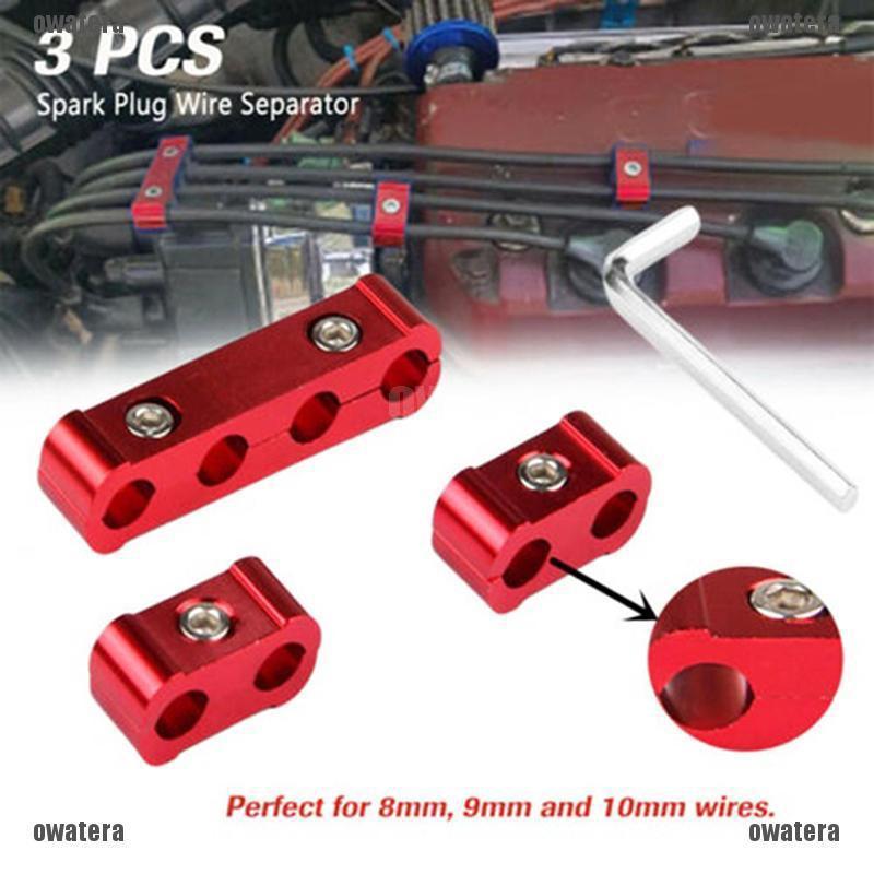 RED Aluminum Alloy Engine Spark Plug Wire Separator Divider Organizer Clamp Kit