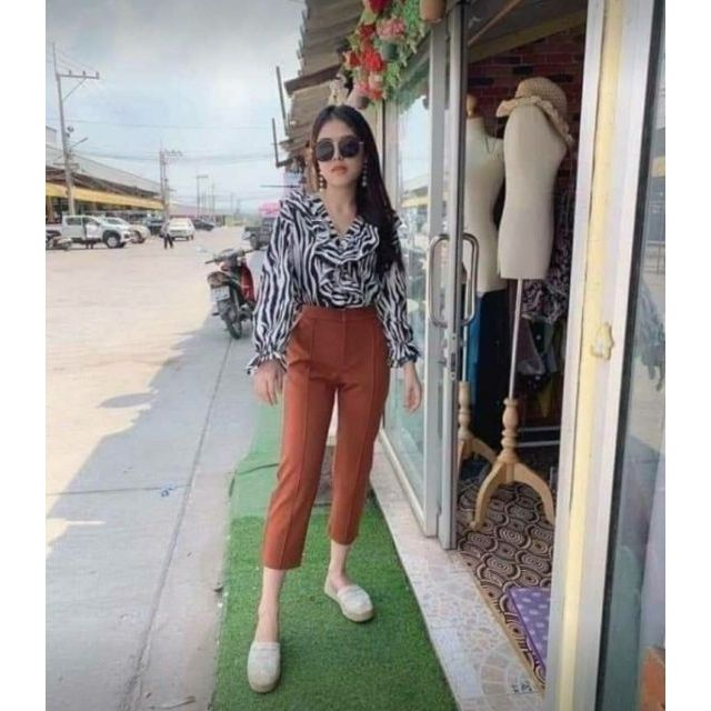 กางเกง7ส่วน ผ้าโรเชฟ size2XL เอว33-34 สีส