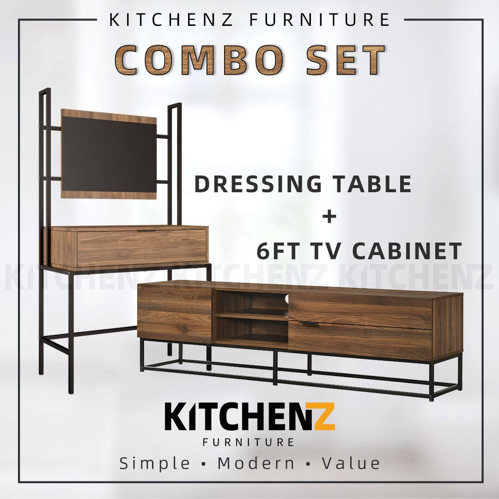 [COMBO] KitchenZ Noble Series 6Ft Tv Cabinet / Tv Console + 3Ft Dressing Table With Mirror Makeup Table / Meja Solek