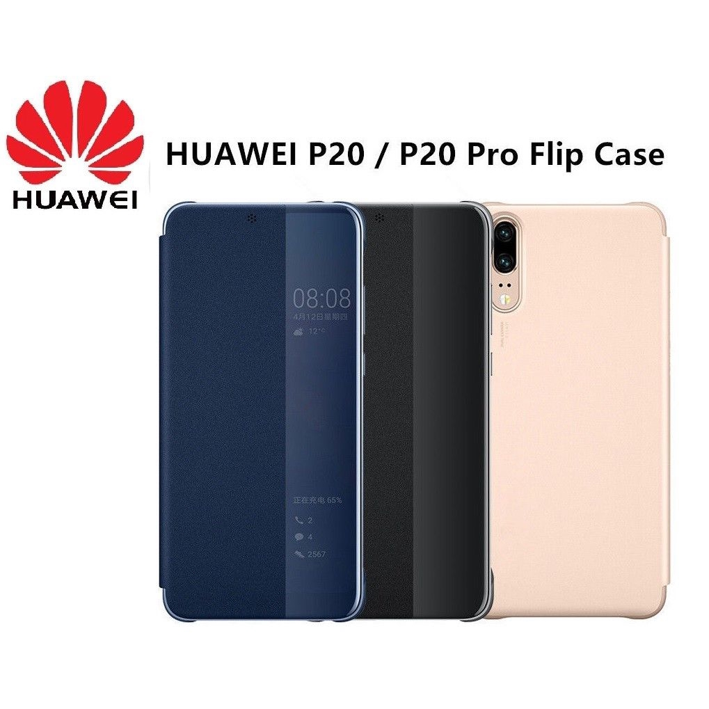scarpe sportive 398e9 ca290 Original Clear View Leather Flip Smart Case Cover Huawei P20 Pro P20 Lite  P20