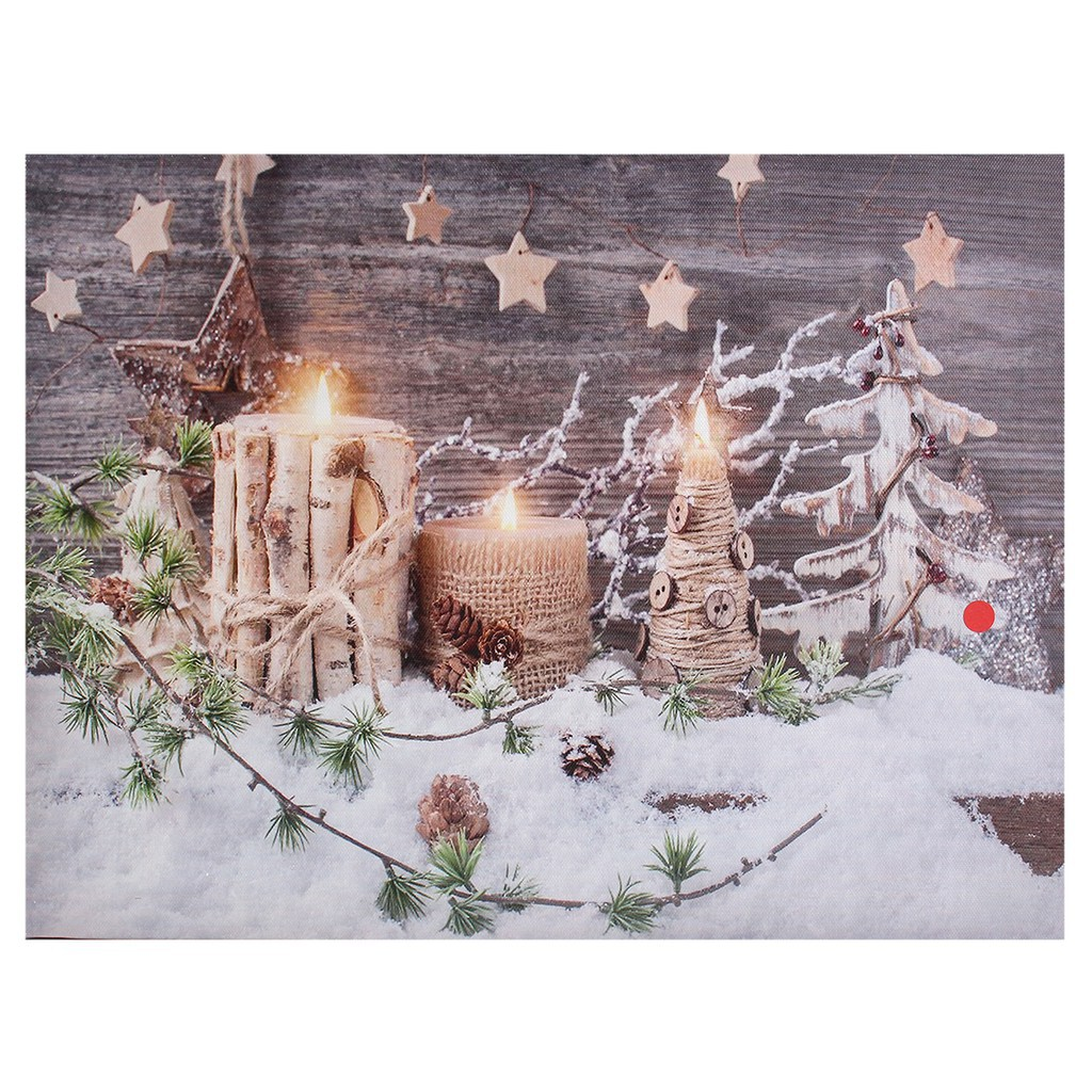 Christmas Led Canvas.Good Christmas Decoration Light Up Led Canvas Wall Art Picture Flickering Candlesd83ddca6