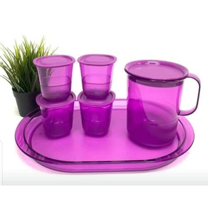 Tupperware Purple Royale Crystalline Pitcher 1.2L / Short Glass 230ml / Serving Tray ( New )