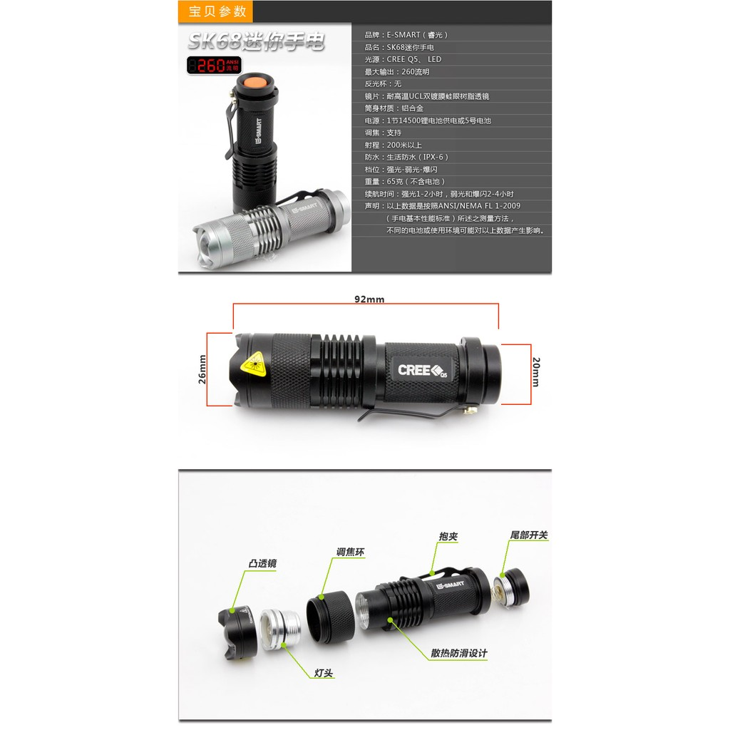"*SHIP 1DAY from MALAYSIA"" Battery Operate Power LED Focus Torch Light"