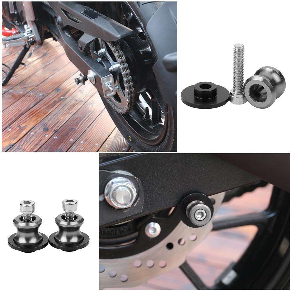 Universal Motorcycle CNC Carbon Fiber 10mm Swingarm Sliders Spools Gray t1.