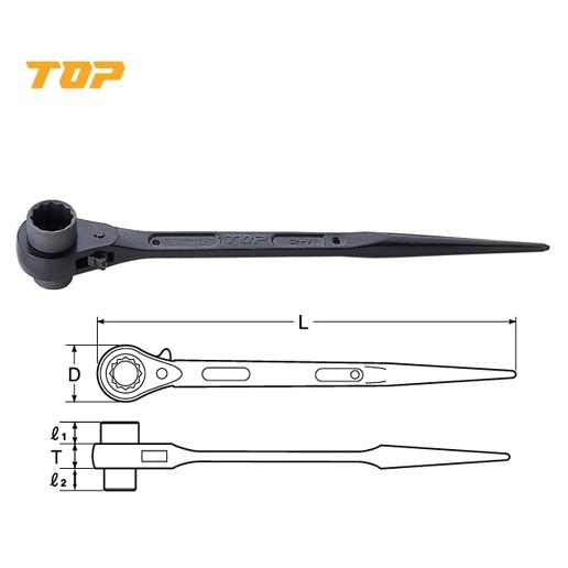 **ORIGINAL** TOP 19 X 21 / 17 X 21 Double Socket Ratchet Wrench (Japan)