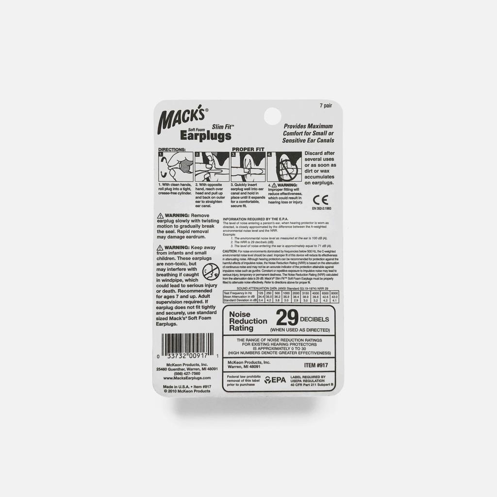 MackS 917 Slim Fit Ear Plugs