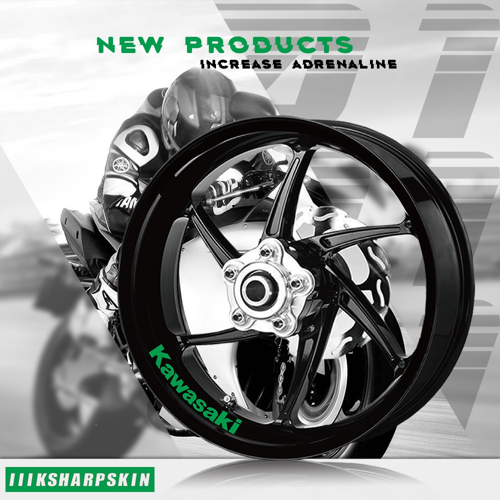 Reflective Green Motorcycle Rim Wheel Accessory Sticker For Kawasaki Ninja 1000