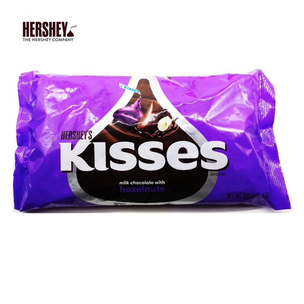 Hersheys Kisses Milk Chocolate With Hazelnuts 315g [Ice Pack Included]