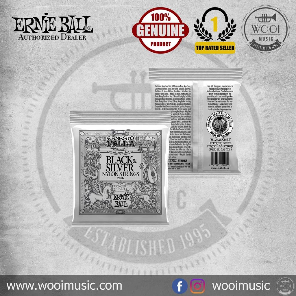 Ernie Ball Ernesto Palla Nylon Black /& Silver Classical Tie On Set Musical Inst